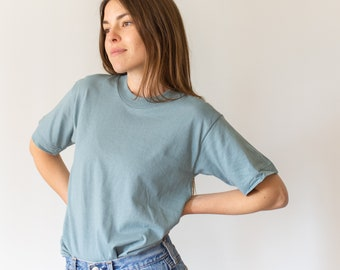Vintage Sea Glass Blue T-Shirt | 100% Cotton Crewneck Tee | Teal Cotton Crew neck Tee Shirt | Washed Dead stock