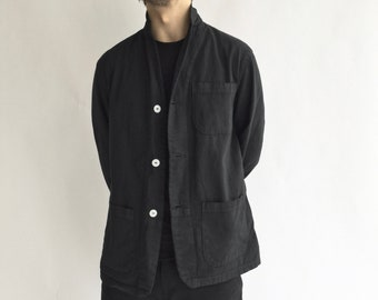 Vintage Black Chore Jacket | Round Three Pocket | Cotton French Workwear Style Coat Blazer XS S L XL