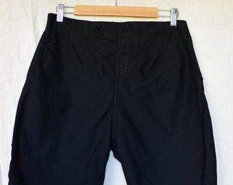 Vintage 30 Waist Black Cotton Shorts | Tab Button Fly | High Rise Workwear | Darts | BS24
