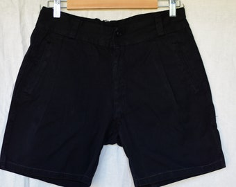 Vintage 29 30 Waist Black Cotton Shorts | Button Fly | High Rise Workwear | Pleats | BS26