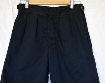 Vintage 27 28 Waist Black Cotton Shorts | Button Fly | High Rise Workwear | Side Buckle | Pleats Chino | BS16