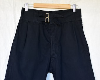 Vintage 28 Waist Double Buckle Black Cotton Shorts | Button Fly | High Rise Workwear | Pleats | Mended | BS15