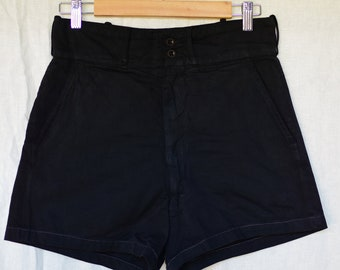 Vintage 28 Waist Black Cotton Drill Shorts | High Rise Workwear | BS30 |
