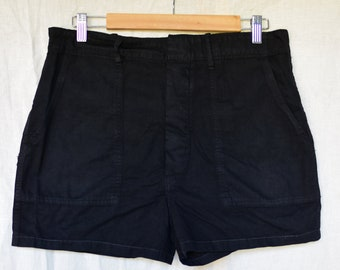 Vintage 32 Waist Black Cotton Shorts | Button Fly | High Rise Workwear | Fatigue Shorts | BS25