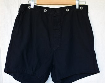 Vintage 31 Waist Black Cotton Shorts | Button Fly | High Rise Workwear | Metal Buttons | BS14