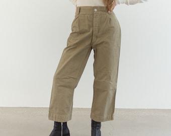 Vintage 28 Waist Khaki Pleat Twill Chinos | Wide Leg 60s Italy Cotton Beige Pant |