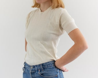 Vintage White Rib Knit Thermal T-Shirt   Jockey Cotton Wool   Washed Deadstock Tee   S  