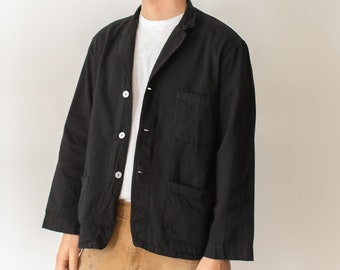 Vintage Black Overdye Classic Chore Jacket | Unisex Square Three Pocket | Cotton French Workwear Style Utility Work Coat Blazer XS S M L XL