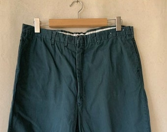Vintage 36 Waist x 29 Inseam Teal Cotton Twill Chinos Pants | 60s Dickies | TC18