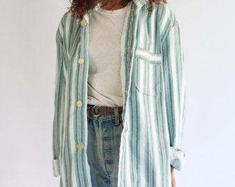 Vintage Green Grey Striped Button Down Blouse   Stripe Cotton Pajama shirt   Vertical Stripe Button Up   Classic Button Up  