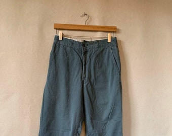 Hanger Sale FINAL Sale   Vintage 28 Waist Teal Cotton Twill Chinos Pants   TC33
