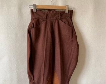Vintage 26-29 Waist Brown Tan Riding Pants | Leather Strap Trouser | Equestrian Pant | Breeches Jodhpur
