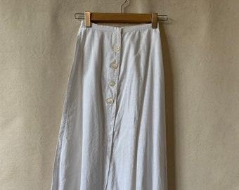 Antique White Linen Crochet Lawn Skirt | 22-23 High Waist | XXS |