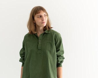 Vintage Forest Green Popover Tunic Shirt   Pullover   Cotton Henley   L   GP008