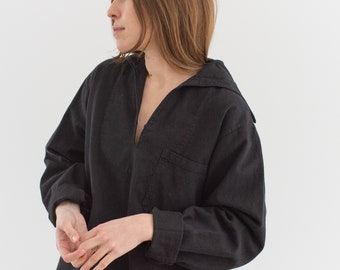 Vintage Black Overdye Sailor Shirt | Cotton Long sleeve Popover Pullover | Middy | S M