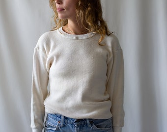 SAMPLE SALE Vintage Cream Waffle Knit Thermal | Irregular Healthknit Shirt | Light Layer Crew Neck | Waffleknit | Made in USA |