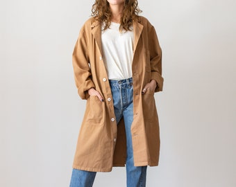 Vintage Almond Brown Overdye Shop Coat | Brown Chore Trench Jacket | L |
