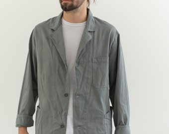 Vintage Grey Chore Coat | Cotton Utility Work Jacket | Made in Italy | M L | IT131