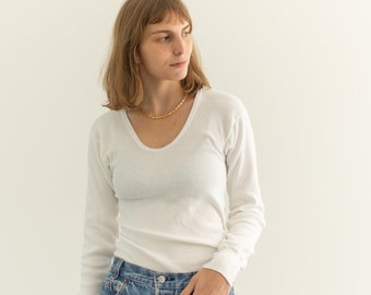 The Lucerne Thermal   Vintage Cotton Blend White Ribbed Long Sleeve Thermal   Rib Scoop Neck Layer   U neck