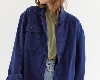 Vintage Navy Blue Work Jacket | Single Pocket Italy Coat | Moleskin Fuzzy | M L | IT167