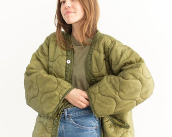 Vintage Green Liner Jacket White Buttons | Quilted Nylon Coat |
