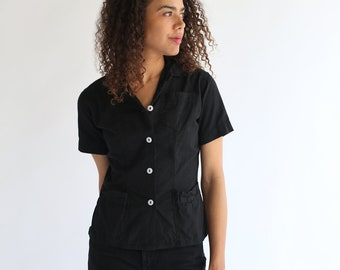 Vintage Overdye Black Short Sleeve Petite Shirt   Simple Blouse   Cotton Work Shirt   XXS XS