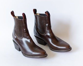 Size 7-7.5   Vintage Deadstock 80s Western Boot   Chocolate Brown Chelsea Boots  