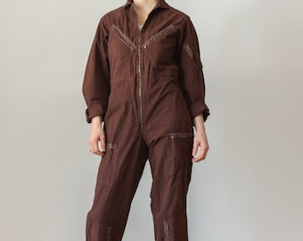 Vintage Hickory Brown Overdye Zipper Cotton Coverall | Jump Suit Jumpsuit | Uniform Artist Mechanic