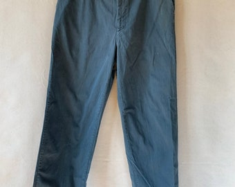 Vintage 38 Waist Teal Cotton Twill Chinos Pants | TC14
