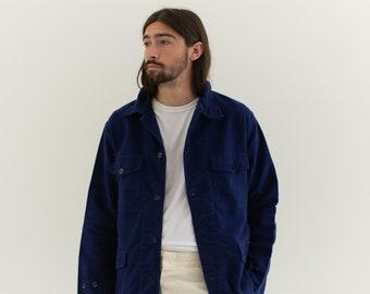 Vintage Dark Rich Blue Moleskin Chore Jacket | Unisex Navy Blue Cotton Utility Work Coat | M L | IT102