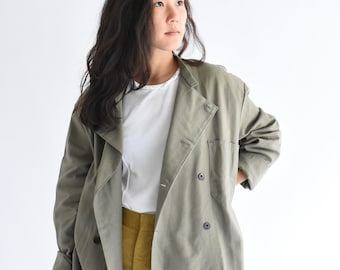 Vintage Olive Green Grey Army Double Breast Jacket   Green Cotton Button Up Chef   Military