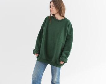 Vintage 90s Forest Green Crew Sweatshirt | Heavyweight Blank Cozy Fleece Sweat | Made in USA | L XL XXL |