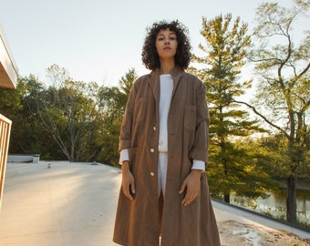 The Corozo Shop Coat in Mushroom | Vintage Brown Overdye Chore Trench Jacket | Painter Duster | S M L XL