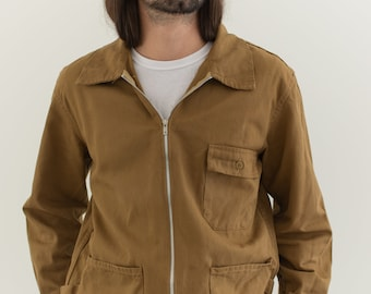 Vintage Tan Khaki Chore Work Jacket | Unisex Utility Zipper | Made in Italy | L | IT082