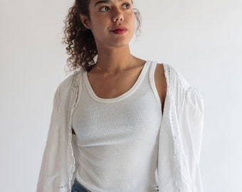 Vintage White Enzyme Washed Rib Knit Tank | Ribbed white tank Top | Cotton Undershirt | Singlet | S M L