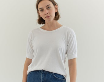 Vintage 100% Cotton White Scoop Neck Thick Tee T Shirt | S | T050