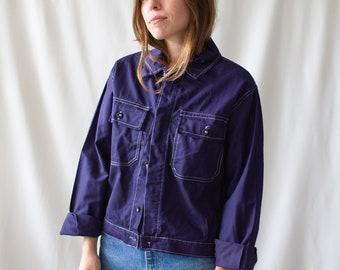 Vintage Navy Blue Work Jacket | Two Pocket Contest Stitch Italy Coat | M | IT010