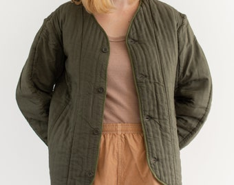 Vintage Olive Green Cotton Quilt Jacket   Puffer   S M   CC005