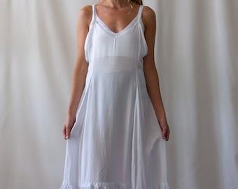 Vintage White Nightgown Strap Dress | Antique White Nightgown | Vintage White Summer Cotton |