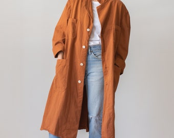 The Corozo Shop Coat in Rust | Vintage Orange Overdye Chore Trench Jacket | Painter Duster | M L