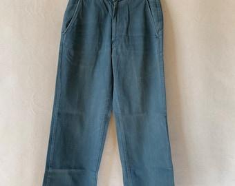 Hanger Sale FINAL Sale   Vintage 26 Waist Teal Cotton Twill Chinos Pants   TC08