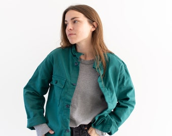 Emerald Green Single Pocket Work Jacket | Unisex Cotton Utility Work Jacket | Made in Italy | M | IT141
