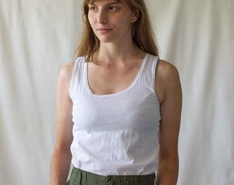 The Bosio Tank | Vintage White Tank Top | 100% Paper Thin Cotton Singlet | Scoop Neck Undershirt | XS S |