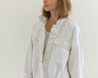 Vintage White Raglan Two Pocket Work Jacket | Unisex Cotton Workwear | Made in Italy | L | IT136