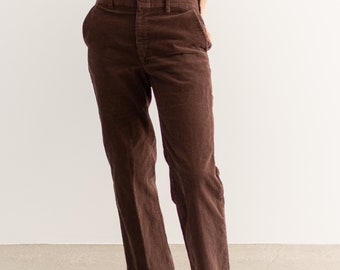 Vintage 31 Waist Chocolate Brown Corduroy Trousers | 70s Mid Rise | Made in USA |