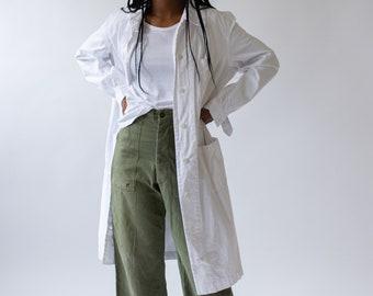 Vintage White Belted Painter Shop Coat | Cotton Trench Jacket | Artist Smock Duster Robe |