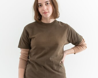 Vintage Olive Brown Thick Crew T Shirt | Worn in Crewneck Tee | S | T113
