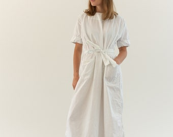 Vintage White Cotton Dress Snap Back Smock | Round Neck Nightgown Dress | Shift Dress Gown Slip | Vintage Workwear