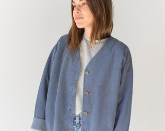 Vintage Faded Blue Boxy Button up Cardigan Sweatshirt | Made in USA Soft Lounge Sweat shirt | M L
