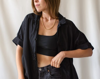 Vintage Black Silky Short Sleeve Shirt | Simple Blouse | Black Cotton Work Shirt | S M